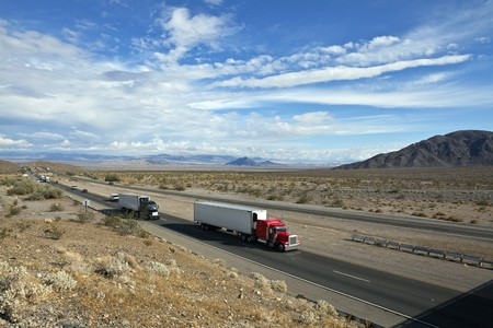 mojave desert: I-15 freeway deep in the center of Californias Mojave desert between Los Angeles and Las Vegas.