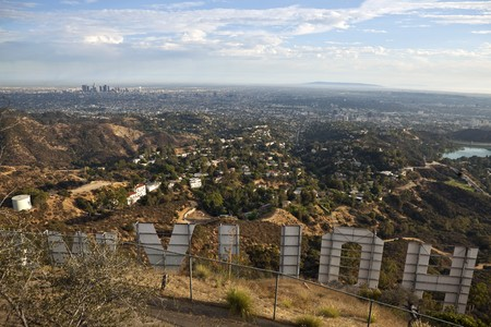 HOLLYWOOD CALIFORNIA - SEPTEMBER 29:  Hugh Hefner donates money to the Hollywood sign trust to purchase and protect 138 acres behind the sign from development, on September 29, 2010 in Los Angeles, California.   Stock Photo - 8150070