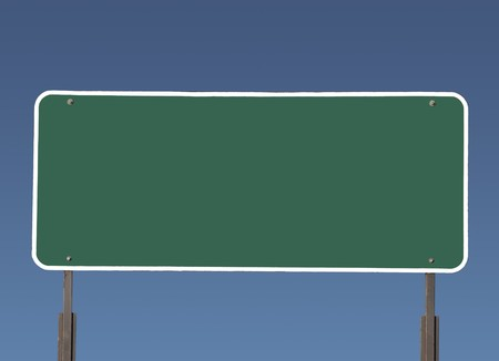 Big blank green highway road sign with gradient blue sky. Stock Photo - 8127475