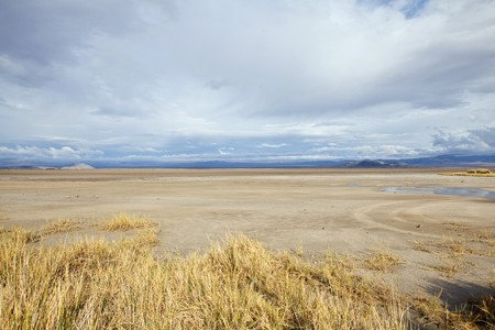 barstow: Thunderstorm moves in on a Mojave desert dry lake at Zzyzx, California.
