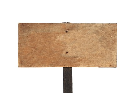 old sign: Rustic blank wooden sign on a hiking trail high in the mountains above Southern California. Stock Photo