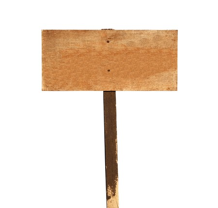 old sign: Blank wooden sign with post on white.