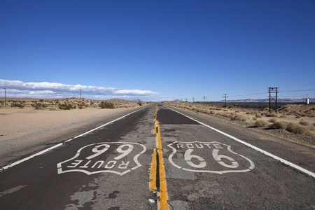 Rustic section of Route 66 deep inside Californias mojave desert. photo