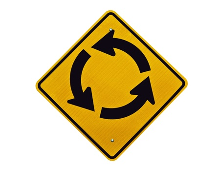 endless: Endless traffic circle loop caution sign. Stock Photo
