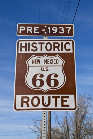 Historic Route 66 New Mexico Sign.  Pre-1937. Stok Fotoğraf - 8505935