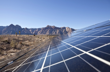 panel: Mojave desert solar array at Red Rock Canyon National Conservation Area.