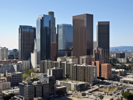 aerial views: Downtown Los Angeles towers and apartments on a clear winter day.