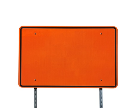 sign post: Big blank orange highway road sign isolated on white.