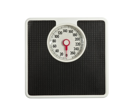 Worn but dependable bathroom weight scale. photo