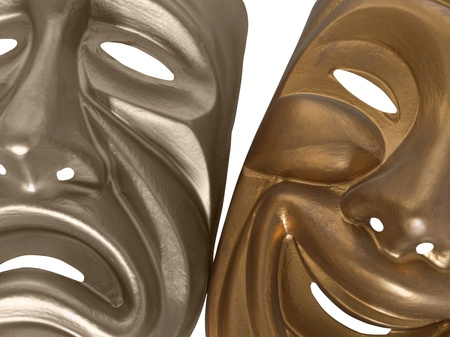 Comedy and Tragedy masks shot tight and isolated on white. photo