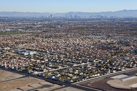 LAS VEGAS NEVADA - NOVEMBER 26:  Desert housing sprawl halts as resale prices drop to 1996 levels.  Shot from Lone Mtn Peak on November 26, 2010, in Las Vegas, Nevada.