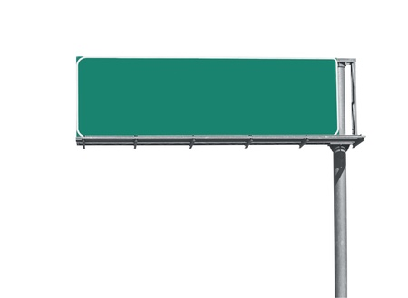 road sign: Blank overhead freeway directional sign background. Stock Photo