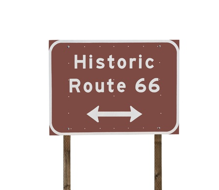 Historic Route 66 sign and posts isolated on white. Stock Photo - 8814904