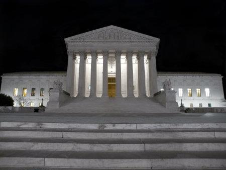 Washington DC, USA - January 8, 2010:  The historic Supreme Court Building in Washington DC at night.