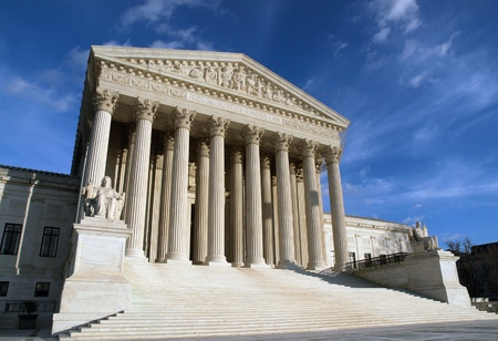 Washington DC, USA - January 10th, 2010:  The historic entrance of the United States Supreme Court building in Washington DC.