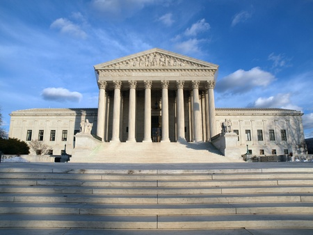 Washington DC, USA - January 6th, 2010:  The historic entrance of the United States Supreme Court building in Washington DC.