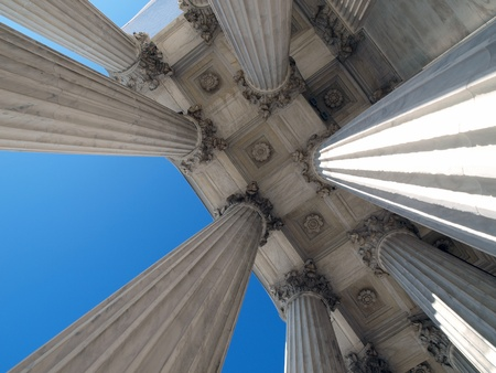 Washington DC, USA - January 10th, 2010:  The historic columns of the United States Supreme Court building in Washington DC. 新聞圖片