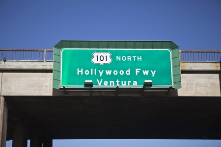 north hollywood: Hollywood 101 freeway sign going north towards beautiful Ventura.   Stock Photo