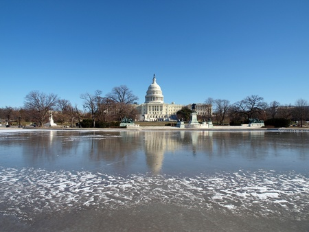 Washington DC, USA - January, 10th 2010:  Frozen United States Capitol building.  Winter in Washington DC.