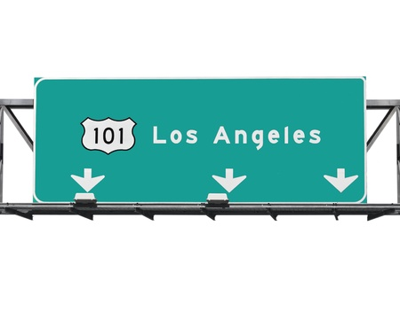 highway signs: 101 Hollywood Freeway in Los Angeles California.