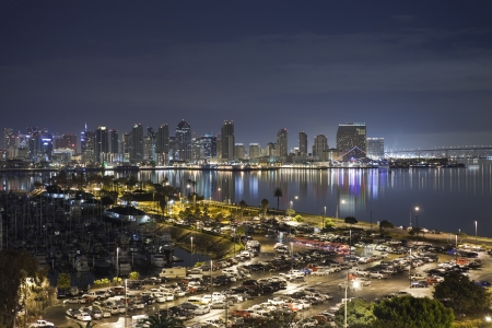 bay city: San Diego, California, USA - March, 24TH 2011:  San Diego bay and its downtown towers glow bightly at night.