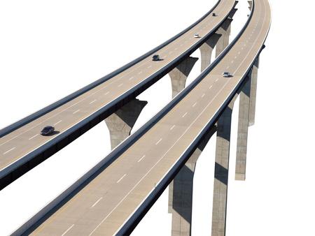 Modern freeway bridge aerial isolation with cars.