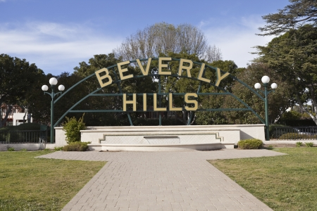 beverly hills: Beverly Hills, California, USA - January, 5th 2011:  The famous Beverly Hills garden park sign along Santa Monica Blvd.   Editorial