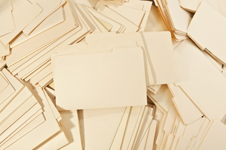 untidy: Messy pile of Legal File Folders Stock Photo