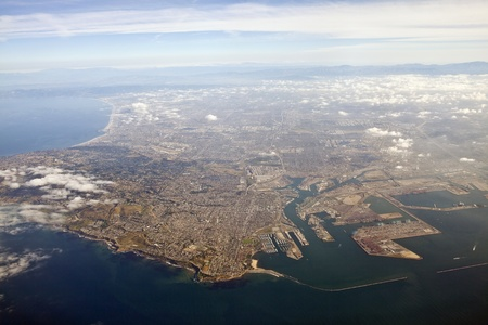 Los Angeles harbor and San Pedro aerial. photo