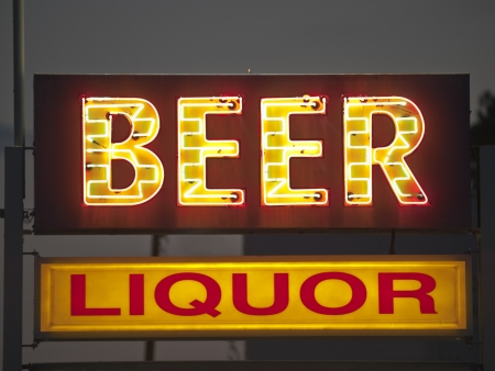 Generic beer and liquor neon sign.