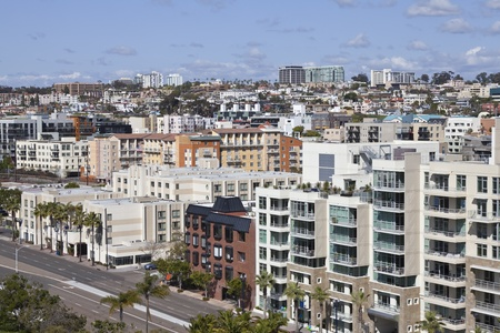 roof apartment: Dense hillside architecture in scenic downtown san Diego California.