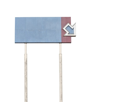 towering: Faded, abandoned, towering, blank arrow sign.