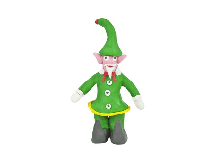 Clay christmas elf isolated on white. Stock Photo - 9887766