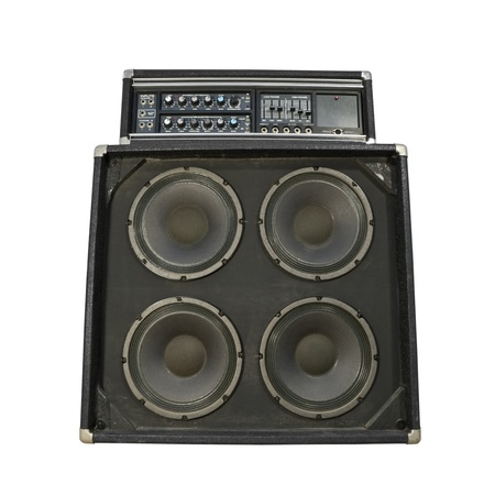 loud: Funky old bass amplifier from the 1970 Stock Photo