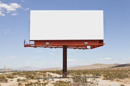 mojave: Blank billboard in the middle of the Mojave desert. Stock Photo