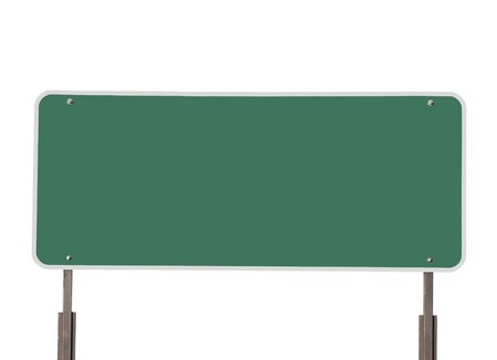green road: Big blank green highway road sign isolated on white. Stock Photo