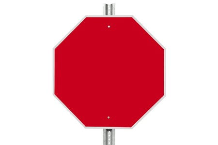 Blank stop sign isolated on white. photo