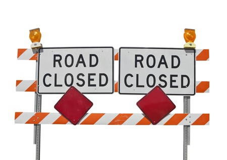 road closed: Old road closed sign isolated on white. Stock Photo