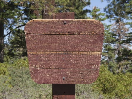 a signboard: Blank wooden wilderness sign in alpine forest. Stock Photo