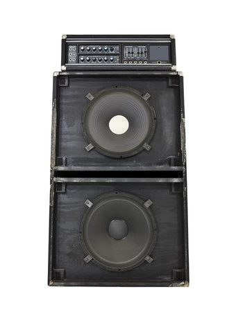 Grungy old torn and frayed 800 watt bass amp with huge 15 inch speakers. Stock Photo - 10064874