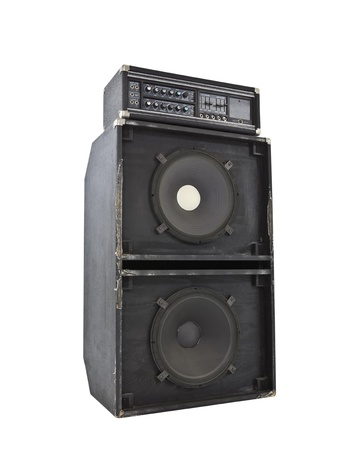 Grungy old 800 watt bass amp with huge 15 inch speakers.  Simulates earthquakes at high volume. Stock Photo - 10064872