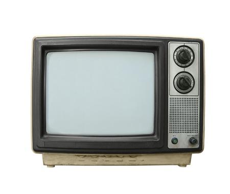 화이트 절연 지저분한 오래 된 TV 세트를 두들겨.