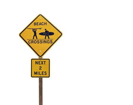 Surfer and Beach Crossing caution sign isolated on white Stock Photo - 10213820