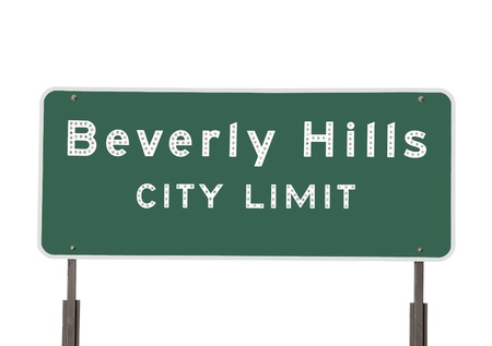 Hollywood city limits sign isolated on white.   photo