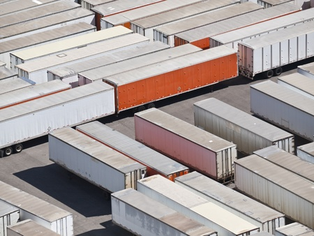 trailer: Trailer storage yard aerial in bright desert sun. Stock Photo