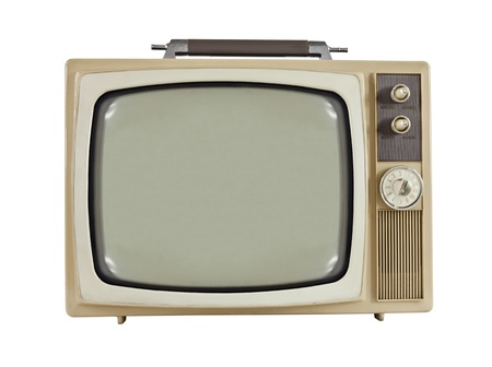 Vintage 1960s portable television isolated on white. photo