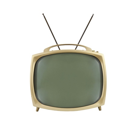 1950's portable television with antennas up.  Isolated on white.