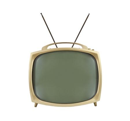 television antigua: televisi�n port�til de 1950 con antenas hasta.  Aislado en blanco. Foto de archivo