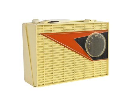 transistor: Grungy 1950s vintage googie radio isolated.
