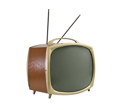 1950s portable television with antennas.   Side angle, isolated on white.
